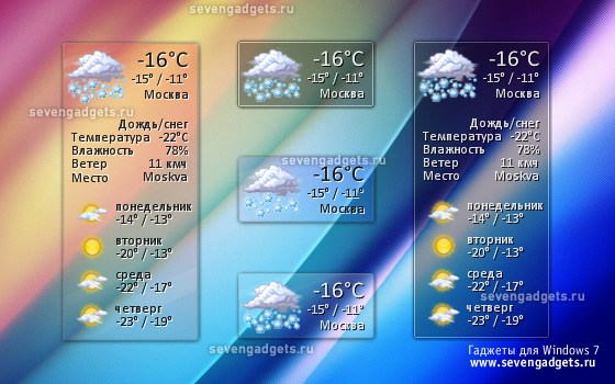 Бесплатно скачать виджет погоды для Windows 7/XP - Погодник.